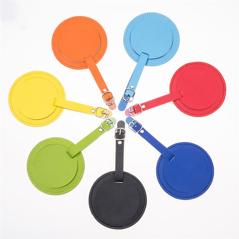 Creative Solid Color PU Luggage Tag Fashion Round Shape Suitcase Tag Luggage Tag Travel Bag Tag Bag Accessories For Travel