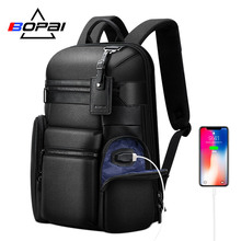 BOPAI Luxury Genuine Leather Backpack Bags Men High End Real Leather Back Pack Men Business Travel Backpack Cow Leather Mochilas