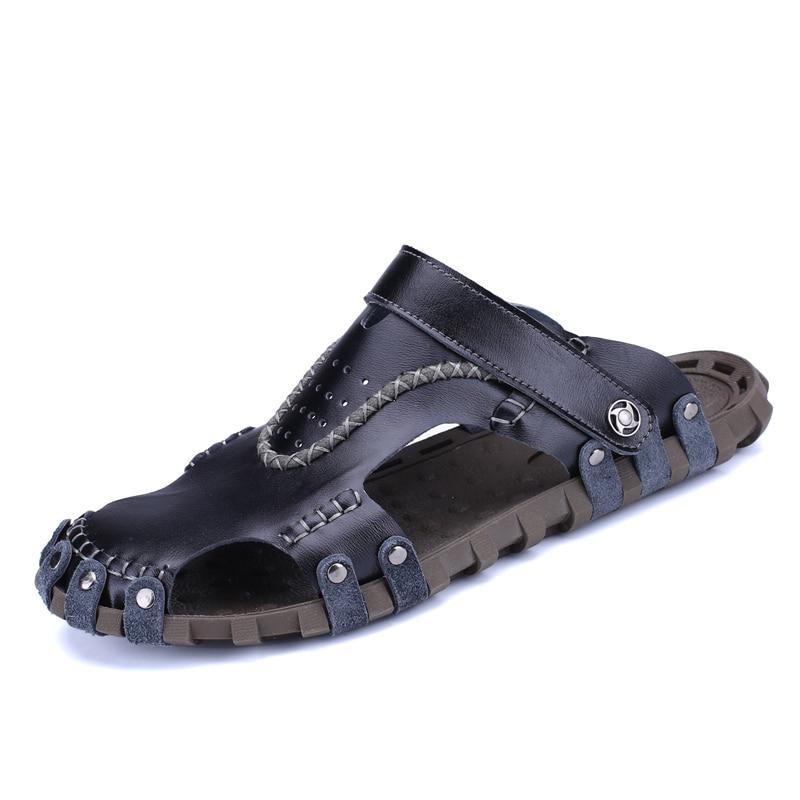 Fashionable Mens Sandals Summer Comfort Big Size Soft Mens Sandals Genuine Leather Size Outdoor Walking Men Sandals  Non Slip
