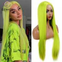 EEWIGS-peluca larga lisa de encaje para mujer, sin pegamento, alta temperatura, estilo kylie Jenner, color verde neón, sintética, con encaje frontal