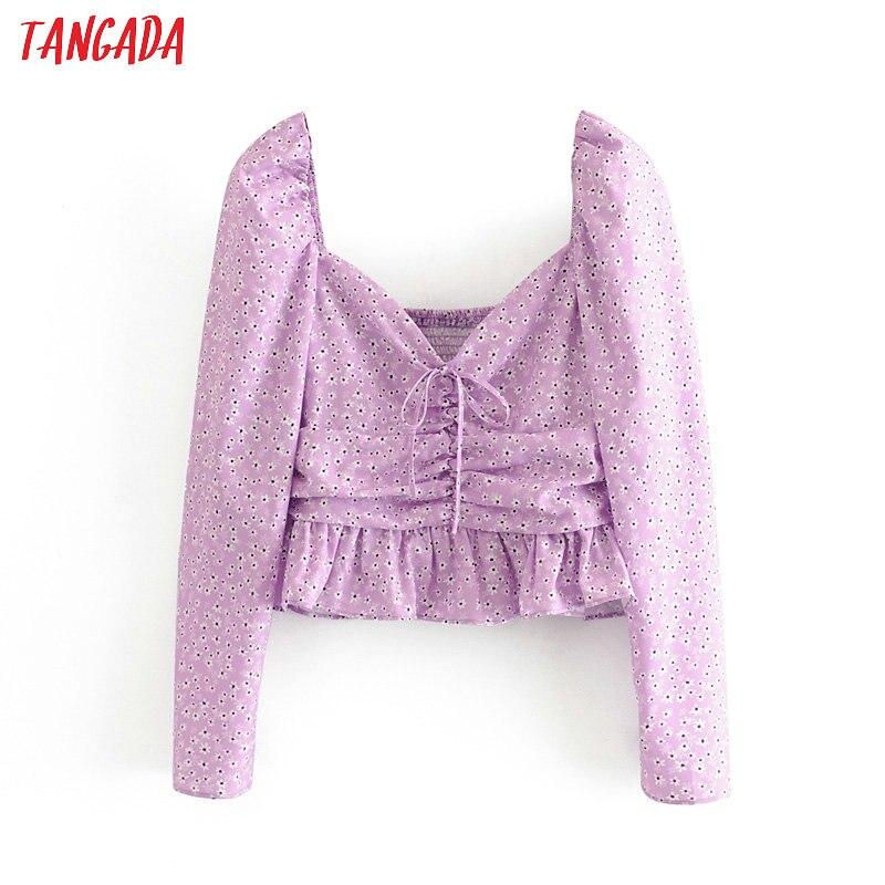 Tangada Women Retro Purple Floral Print Pleated Crop Blouse Long Sleeve 2020 Chic Female Sexy Slim Shirt Tops 3H456