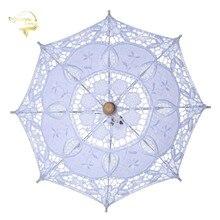 Белый кружевной зонт ручной работы с вышивкой, зонт от солнца для свадебных торжеств и вечеринок, BU99037