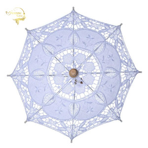 Image 1 - מכירה לוהטת לבן בעבודת יד רקום תחרת השמשייה שמש מטריית כלה חתונת מסיבת יום הולדת קישוט חתונת דקור BU99037