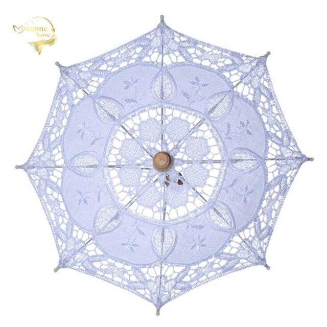 מכירה לוהטת לבן בעבודת יד רקום תחרת השמשייה שמש מטריית כלה חתונת מסיבת יום הולדת קישוט חתונת דקור BU99037