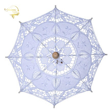 Hot Sale White Handmade Embroidered Lace Parasol Sun Umbrella Bridal Wedding Birthday Party Decoration Wedding Decor BU99037