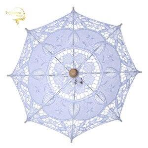 Image 1 - Hot Sale White Handmade Embroidered Lace Parasol Sun Umbrella Bridal Wedding Birthday Party Decoration Wedding Decor BU99037