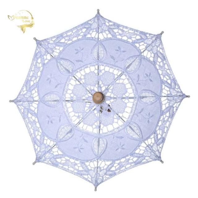 Hot Sale White Handmade Embroidered Lace Parasol Sun Umbrella Bridal Wedding Birthday Party Decoration Wedding Decor BU99037