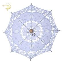 ขายร้อนสีขาวทำด้วยมือปักลูกไม้ Parasol Sun ร่มเจ้าสาวงานแต่งงานวันเกิดตกแต่งงานแต่งงานตกแต่งงานแต่งงาน BU99037