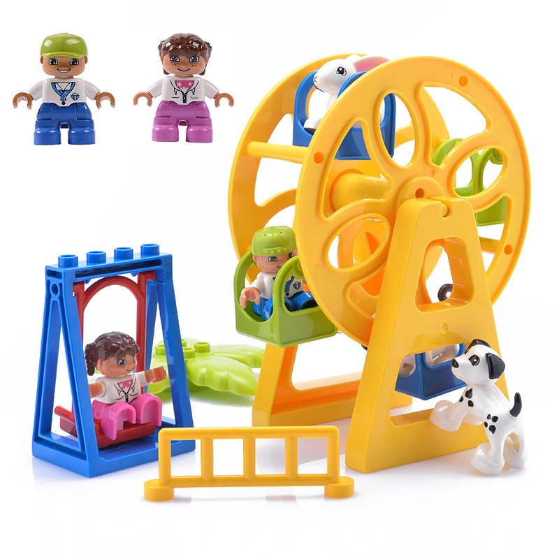 Duplos Blocks Accessory Parts Fence Sliding Ladder Swing Window Figures Flower Bricks Big Particles DIY Building Brick Toy