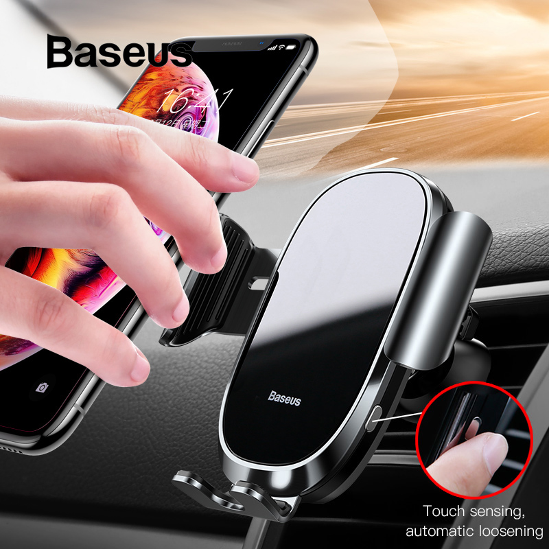 Baseus Auto-locked Car Phone Holder Gravity Sensor Mobile Phone Holder in car For iPhone Xs Max XR Car smartphone support holder держатель для смартфона с функцией беспроводной зарядки