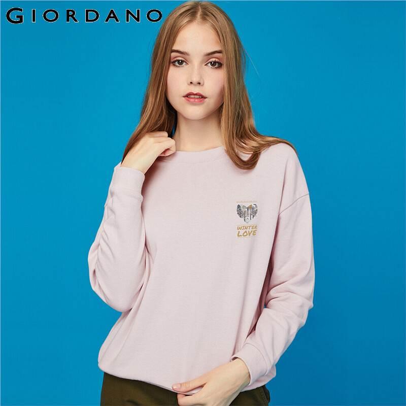 Giordano Women Sweatshirts Printed Graphic Crewneck Loose Sweatshirt Ribbed Cuffs And Hem Solid Sudadera Mujer 99399472