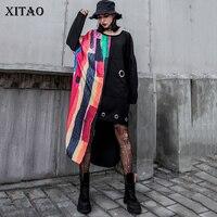 XITAO Patchwork Print Irregular Midi Dress Women Clothes 2019 Fashion Korean Elegant Pocket Black Dress Pullover Autumn WQR1769