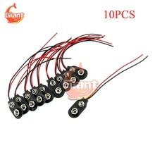 10 pces 9v clip-on bateria conector 9v bateria snap-on conector fio cabo leva cabo 9v i-fontes softshell bateria fivela