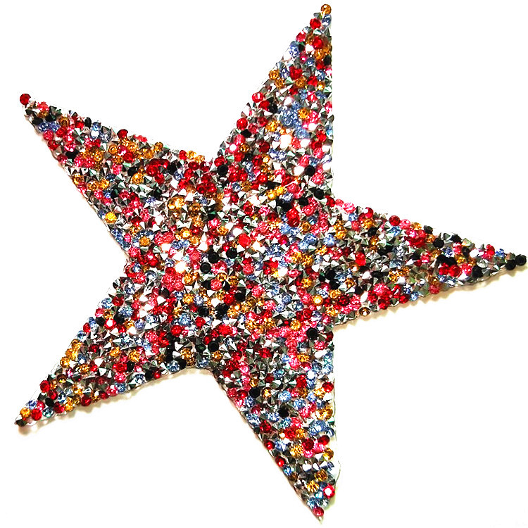 Iron On Five Star Rhinestone Mixed Size Patch Red Color Sequin Patches And T-shirt Appliques For Girl's Clothes