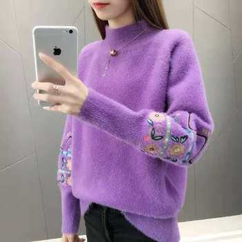 Sweater women's 2020 autumn and winter imitation mink velvet Korean pullover half high neck loose knit bottoming shirt hdy haoduoyi 2018 new arrival beige knit half necked openwork loose pullover sweater autumn winter