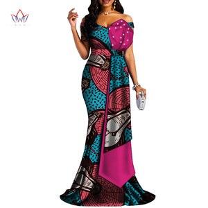 2020 африканские платья для женщин Bazin Riche стиль Femme африканская одежда леди принт воск размера плюс вечерние Длинные свадебные платья Wy4378