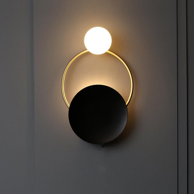 Nordic art eclipse <font><b>G9</b></font> LED wall light luxury retro copper wall lamp bedroom bedside lamp creative cafe aisle wall lamp image