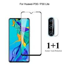 Para huawei p30 lite/p30 protetor de tela frontal protetor vidro temperado & câmera lente filme