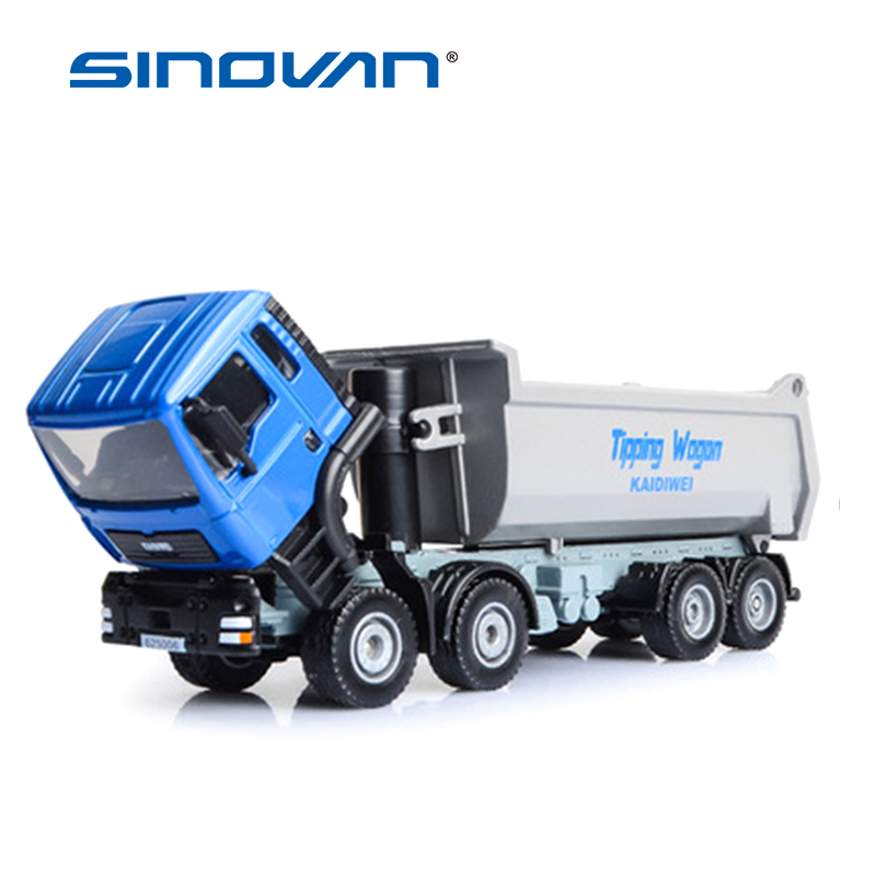 Alloy Diecast Tipping Wagan Dump Truck Toy Car 1:50 Engineering Heavy 8 Wheel Vehicle Model Hobby Toys For Kids Christmas Gift