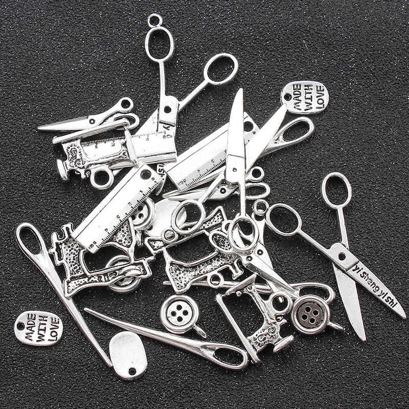 24 pçs/lote antigo prata cor liga botão agulha tesoura máquina de costura encantos pingente pulseira colar jóias acessórios