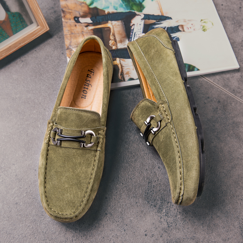 Suede Shoes Men Casual Loafers Shoe Handmade Loafer Slip On Driving Shoes Anti-Slip Flats Male Walking Driver Shoe Army Green
