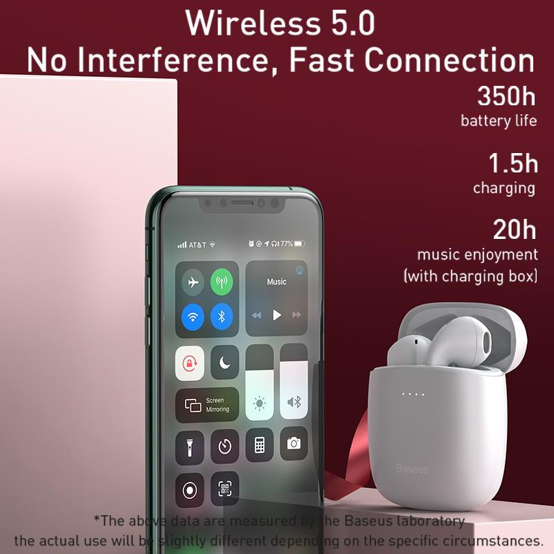 Baseus W04 Pro TWS Bluetooth Earphone 5.0 True Wireless Earbuds Stereo Earphones For Xiaomi Handsfree In Ear Phone Sport Headset 2