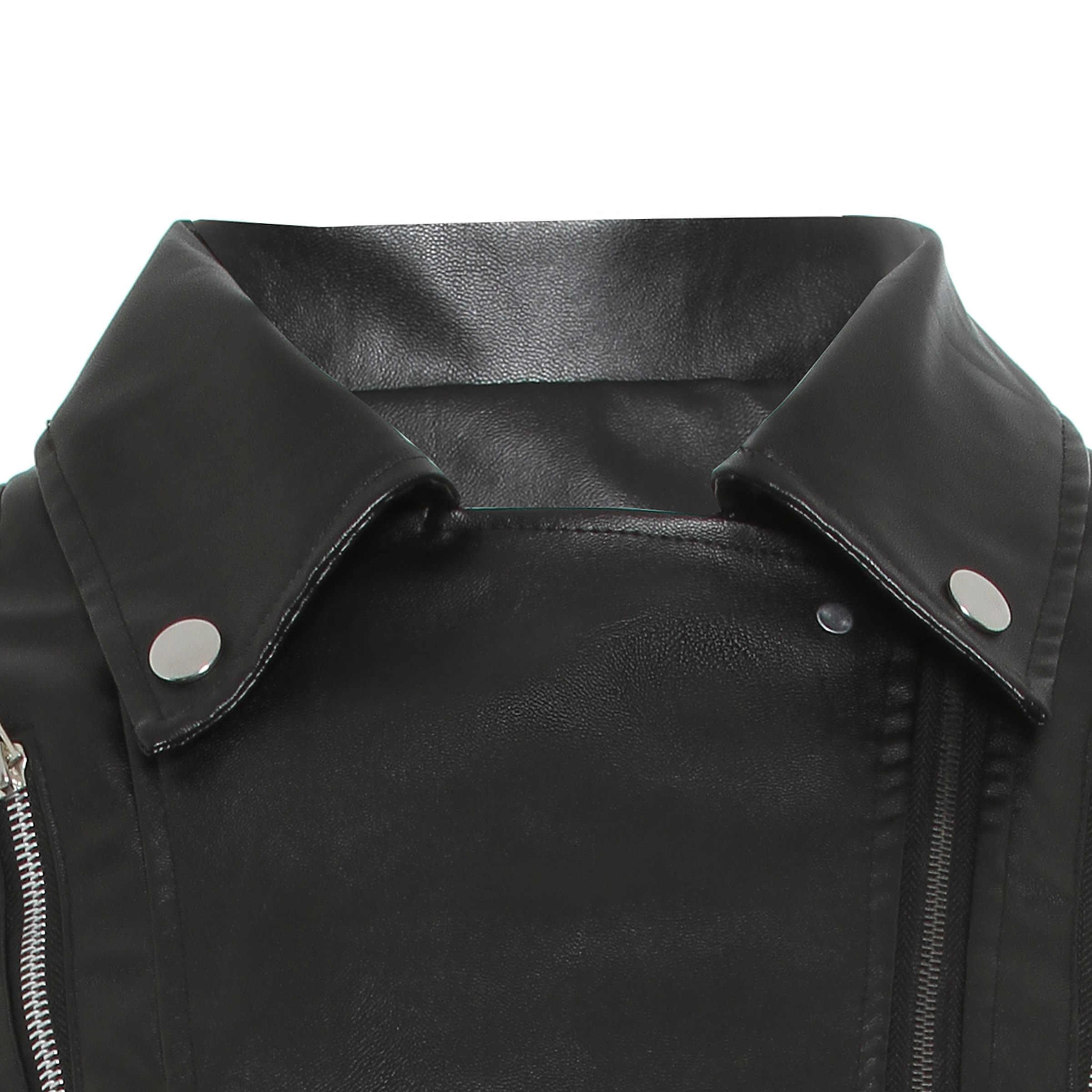 Schwarz PU Leder Motorrad Jacke Frauen Herbst Top Mode Heißer Verkauf Oberbekleidung Zipper Kühlen Slim Fitness Weibliche Goth Casual Mantel