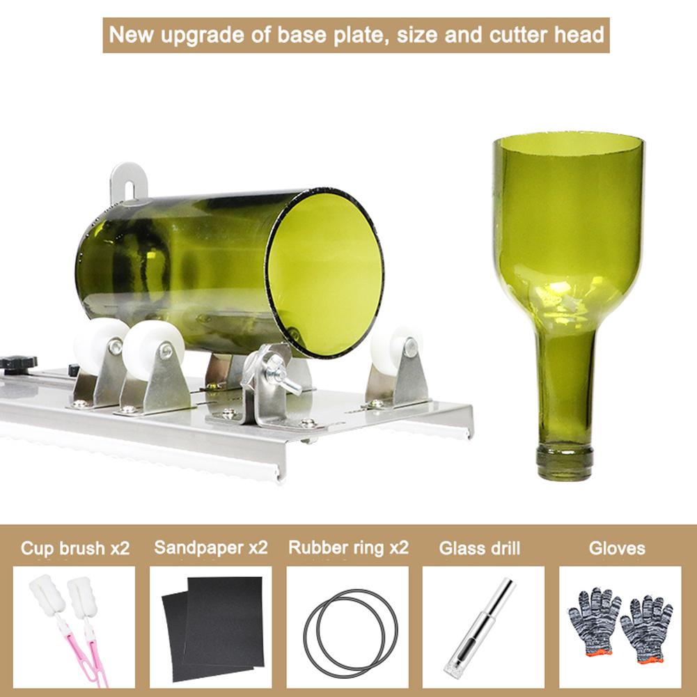 1 Set Hot SaleGlass Bottle Cutter Cutting Machine For Cutting Wine Beer Whiskey Alcohol Champagne With Gloves Fixing Rubber Ring