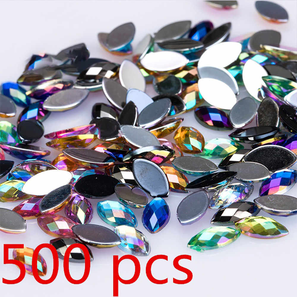 500pcs קריסטל ברור AB אמנות Rhinestones DIY ללא תיקונים Flatback אקריליק Gems 3D ציפורניים אמנות קישוט #