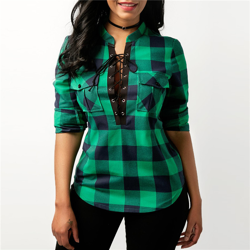 Office Lady Cotton Lace up Shirt 4
