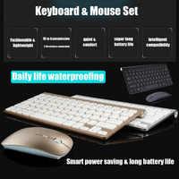 Mini teclado y ratón inalámbricos para portátil, 2,4 GHz, PC, Combos de oficina, receptor USB con Bluetooth