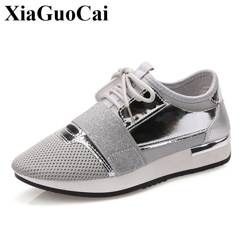 Women Sneakers Flat Casual Shoes Platform Breathable Mesh Low Lace-up Tenis Footwear Fashion Style Soft Wear Resistant Anti-skid