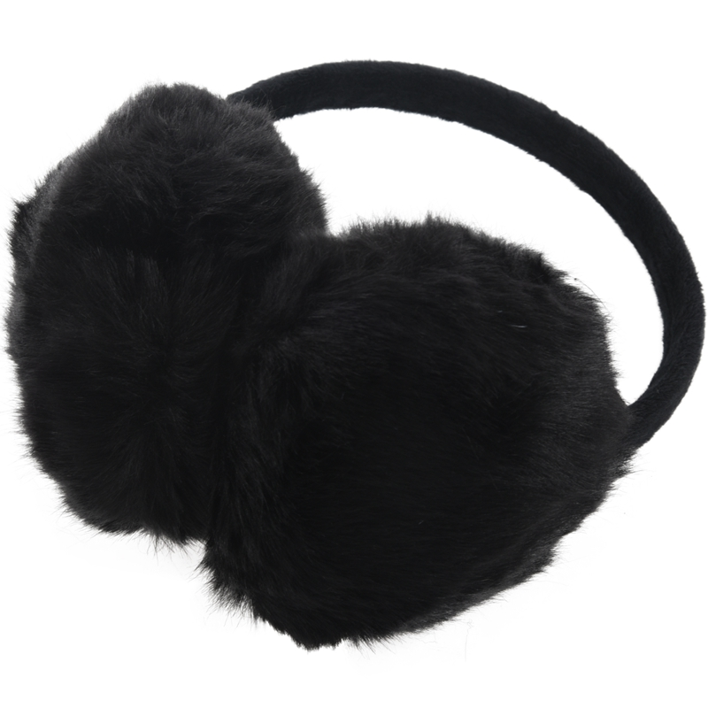 Lady Woman Headband Black Faux Fur Winter Ear Cover Earmuffs