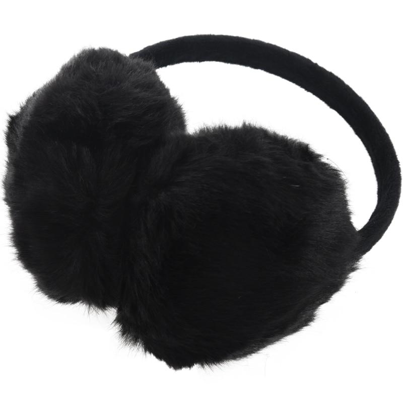 Lady Woman Headband Black Faux Fur Winter Ear Cover Earmuffs