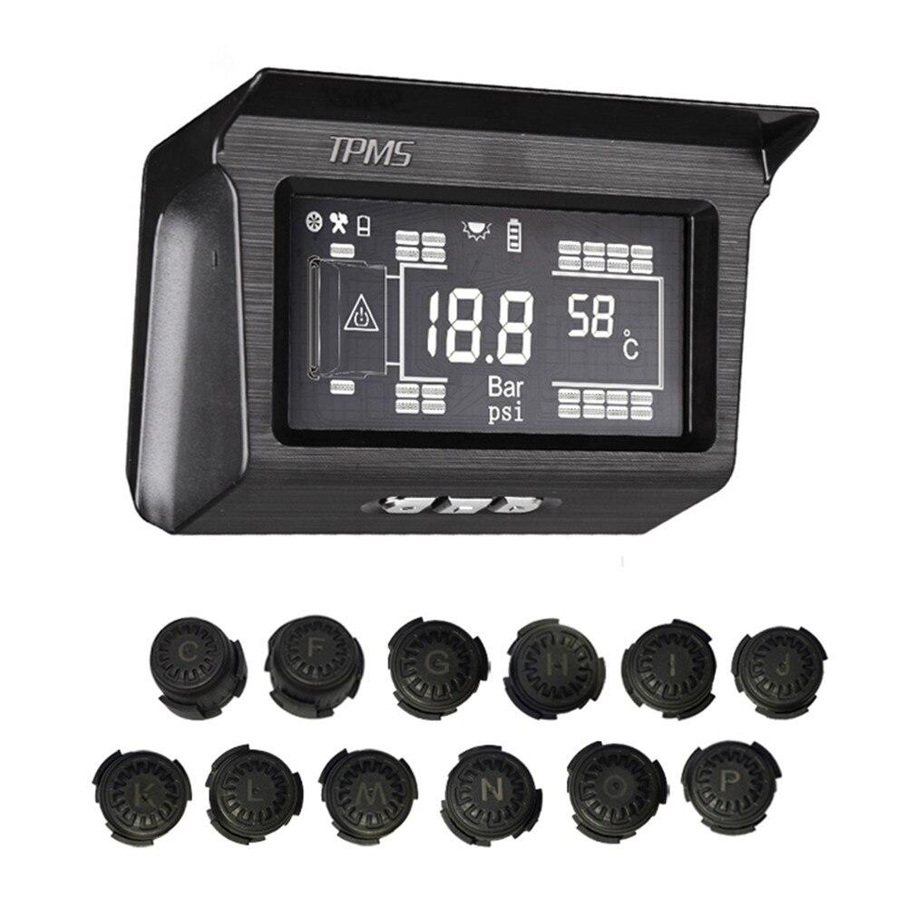 Wonvon energia solar sem fio tpms sistema de monitoramento pressão dos pneus 188psi sensor externo para 12 rodas/18 rodas caminhão ônibus