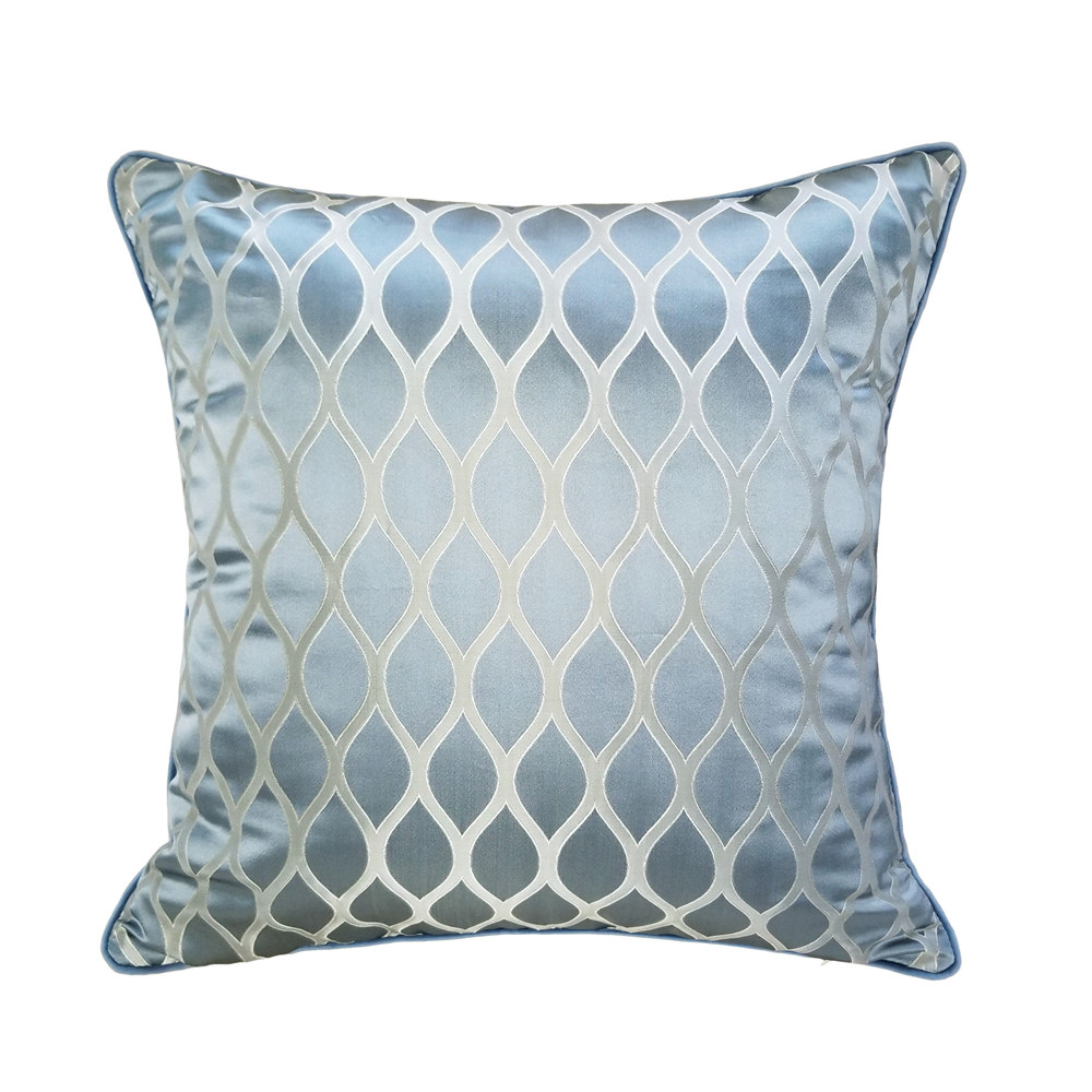 Traditional Shiny Jacquard Woven Gray Blue Pipping 45 X 45 Cm Classic Velvet Pillow Case Home Decor Armchair Sofa Cushion Cover