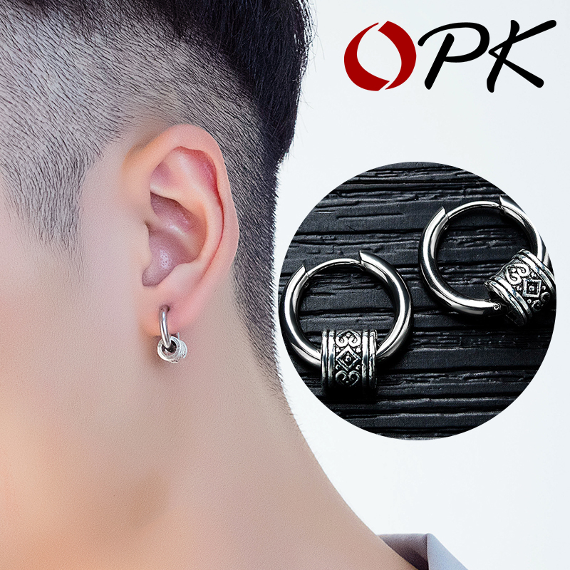 OPK Men Cool Punk Stud Earrings Round Men Earring Stainless Steel Pendant Jewelry Steel Vintage Ear Hipster Rock Style 557
