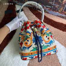 2019 Newest Luxury Brand Design Fashion High Quality Cow Leather Bucket Bag Famous Designer Flowers Pattern Casual Shoulder