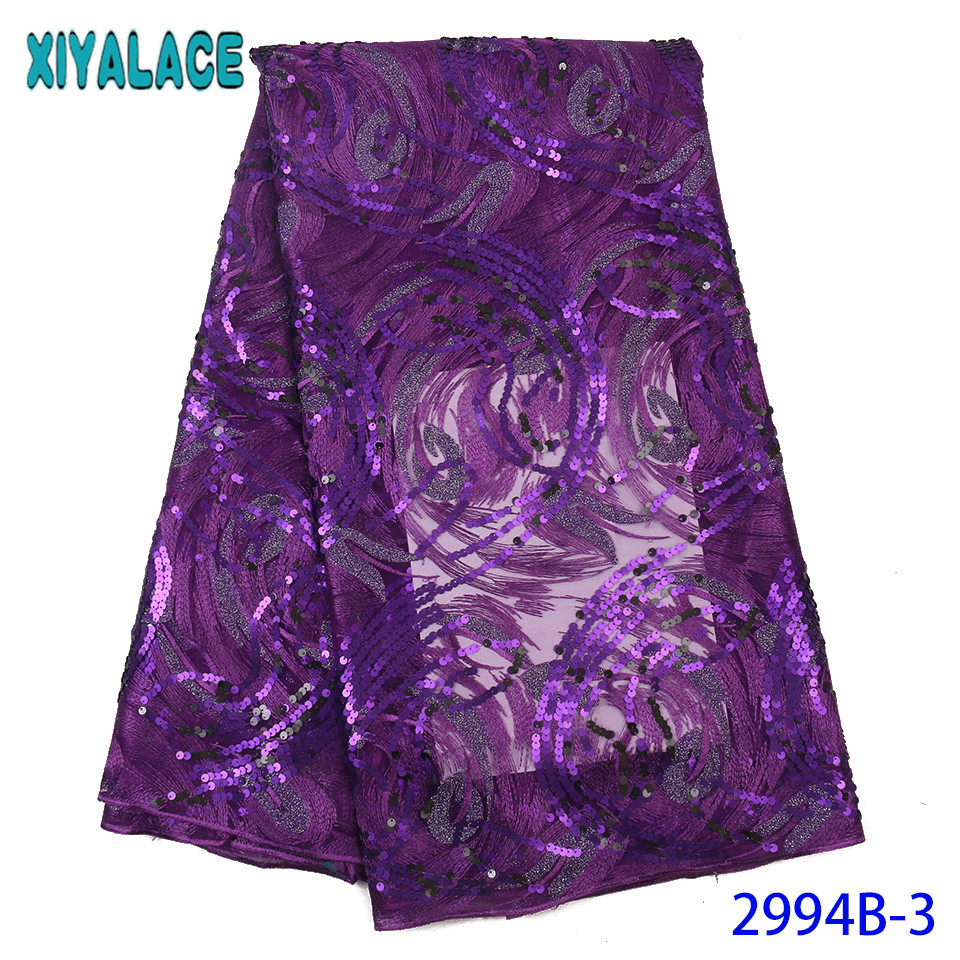 African Lace Fabric 2019 High Quality Lace Purple Sequin Lace Fabric Nigerian Embroidered Laces For Women KS2994B
