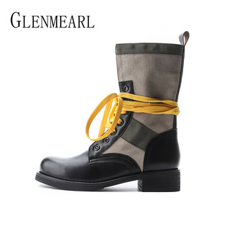 Women Boots Platform Ankle Boots Lace Up Winter Fashion Shoes Round Toe Flat Heel Comfortable Leather Canvas 2020 New Arrivals 2018 vallu new leather shoes women ankle boots round toes buckle zipper handamde vintage flat platform ladies boots