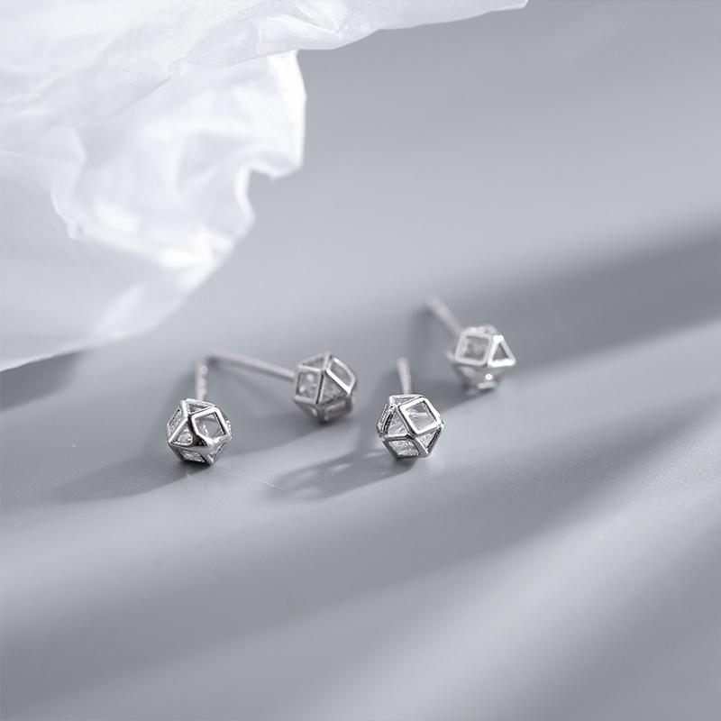 Mini Style Cute Tiny Silver Color Magic Cube Clean Cubic Zircon Stud Earrings Small Hollow Geometry Earrings For Women Girls