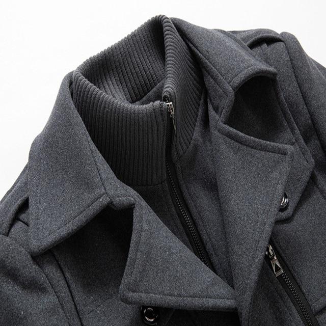New Men Wool Blends Coats Autumn Winter Solid Color Cold Resistant Men Woolen Overcoat Double Collar Casual Trench Coat Male 6