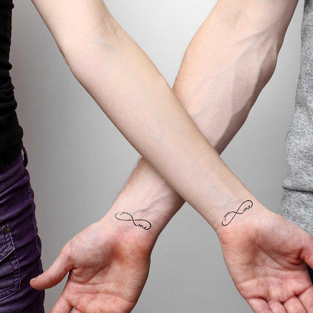 Erkek kadın vücut kol sanat etiket çift sahte dövme seti kol ipuçları araçları 1 adet aşk sonsuzluk sembolü su geçirmez geçici dövmeler