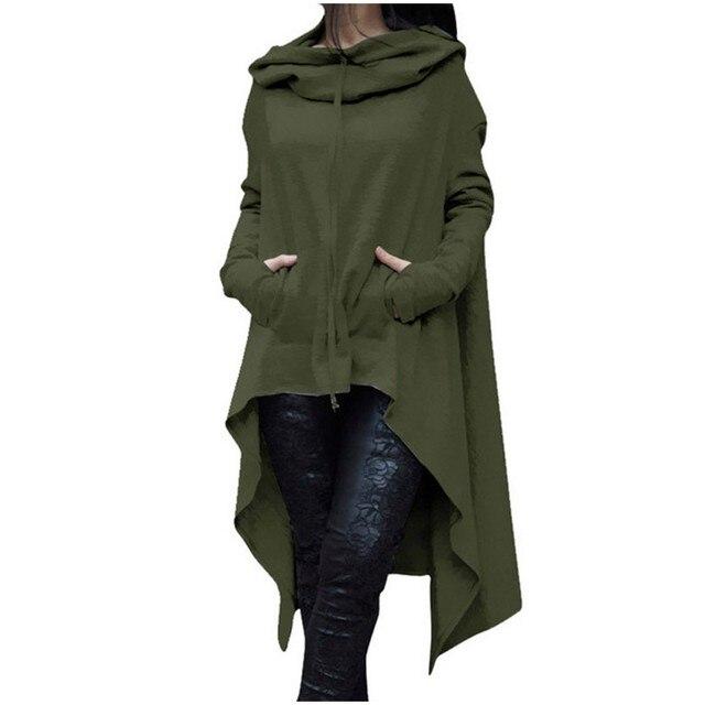 40#Women Plus Size Long Sleeve Hood Tops Solid Sweatshirt Irregular Long Hoodies Autumn Winter Pocket Elegant Pullover Tops 1