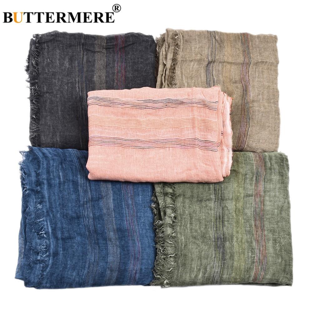 Hot DealsBUTTERMERE Men Scarves Warm Cotton Linen Pink Black Winter Long-Fashion-Brand Khaki Autumn