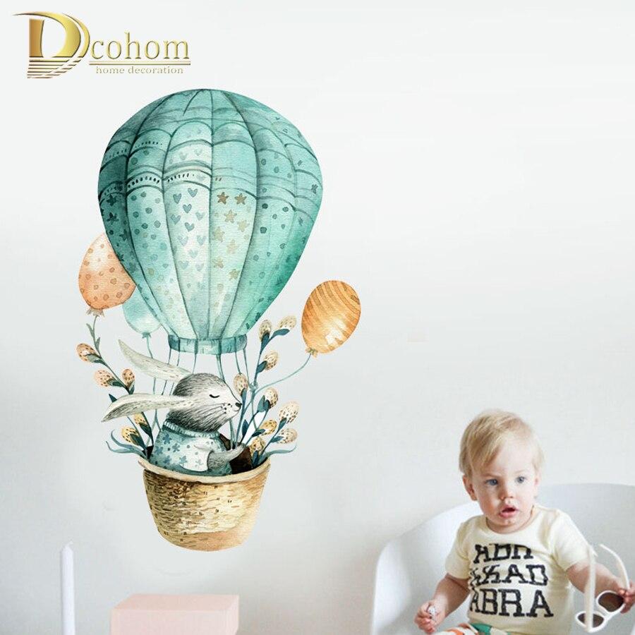 Мультяшные животные кролик воздушный шар Детская Наклейка на стену скандинавский стиль наклейки украшение комнаты ПВХ обои|Наклейки на стену|   | АлиЭкспресс