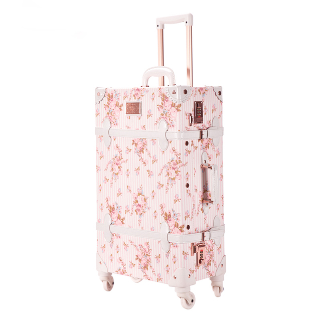 20 inch Suitcase luggage Hardside Rolling Spinner Retro Style for Travel suitcase set