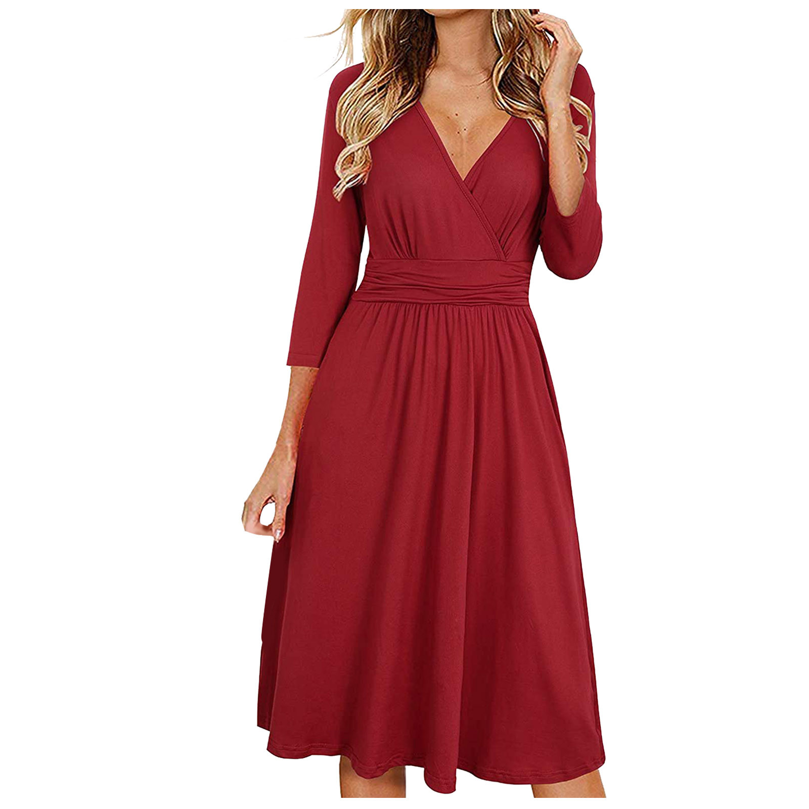 vestido de mujer Women Fashion Solid Color Three-quarter Sleeve Long Skirt Pocket Dress femme robe платье 2021