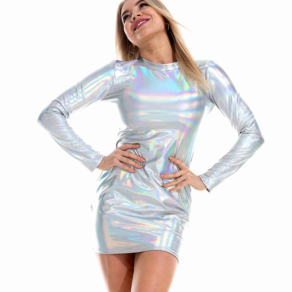 Women Glitter Holographic Metallic Long Sleeve Mini Bodycon Dress Turtleneck NEW