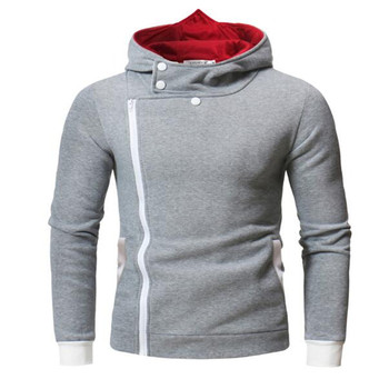 ZNG 2020 new Spring casual Hoodie Oblique Zipper Solid Color Hoodies Men Fashion size M-4XL